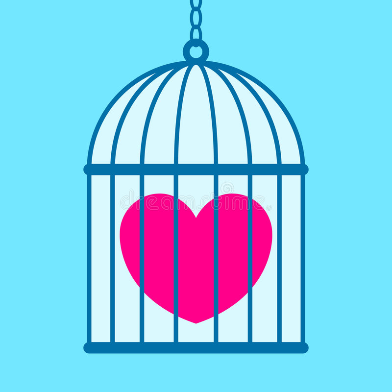 Heart in cage stock illustration