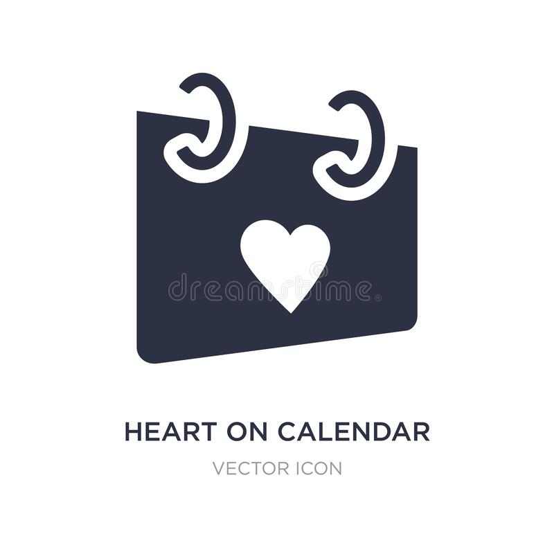 heart on calendar icon on white background. Simple element illustration from UI concept vector illustration