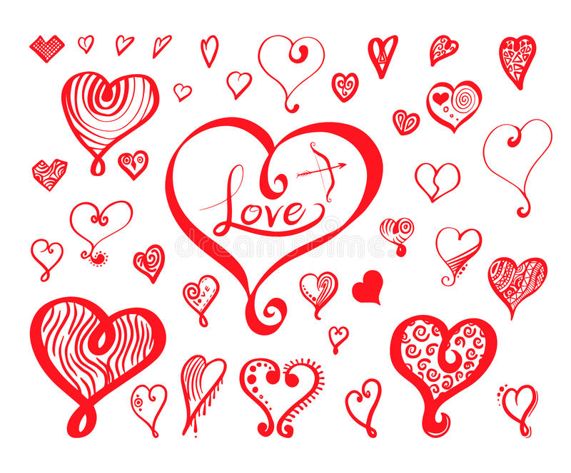 Heart calligraphy collection hand drawn style. Vector illustration for love concept valentine and wedding vector illustration