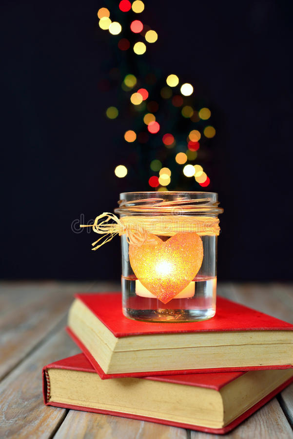 Free Heart Candle And Bokeh Lights Royalty Free Stock Image - 37236416