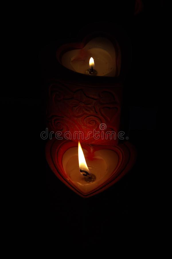 Heart Candles stock images