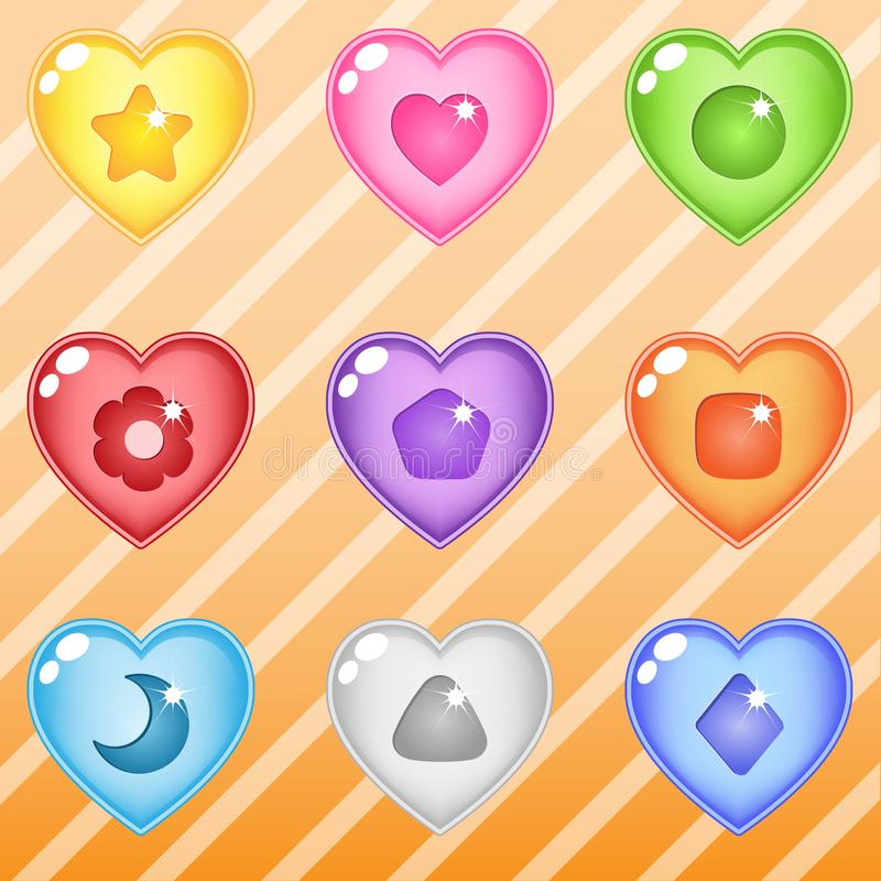 Heart candy block puzzle button glossy jelly. 2d asset for user interface GUI in mobile application or casual video game. Vector for web or game design royalty free illustration