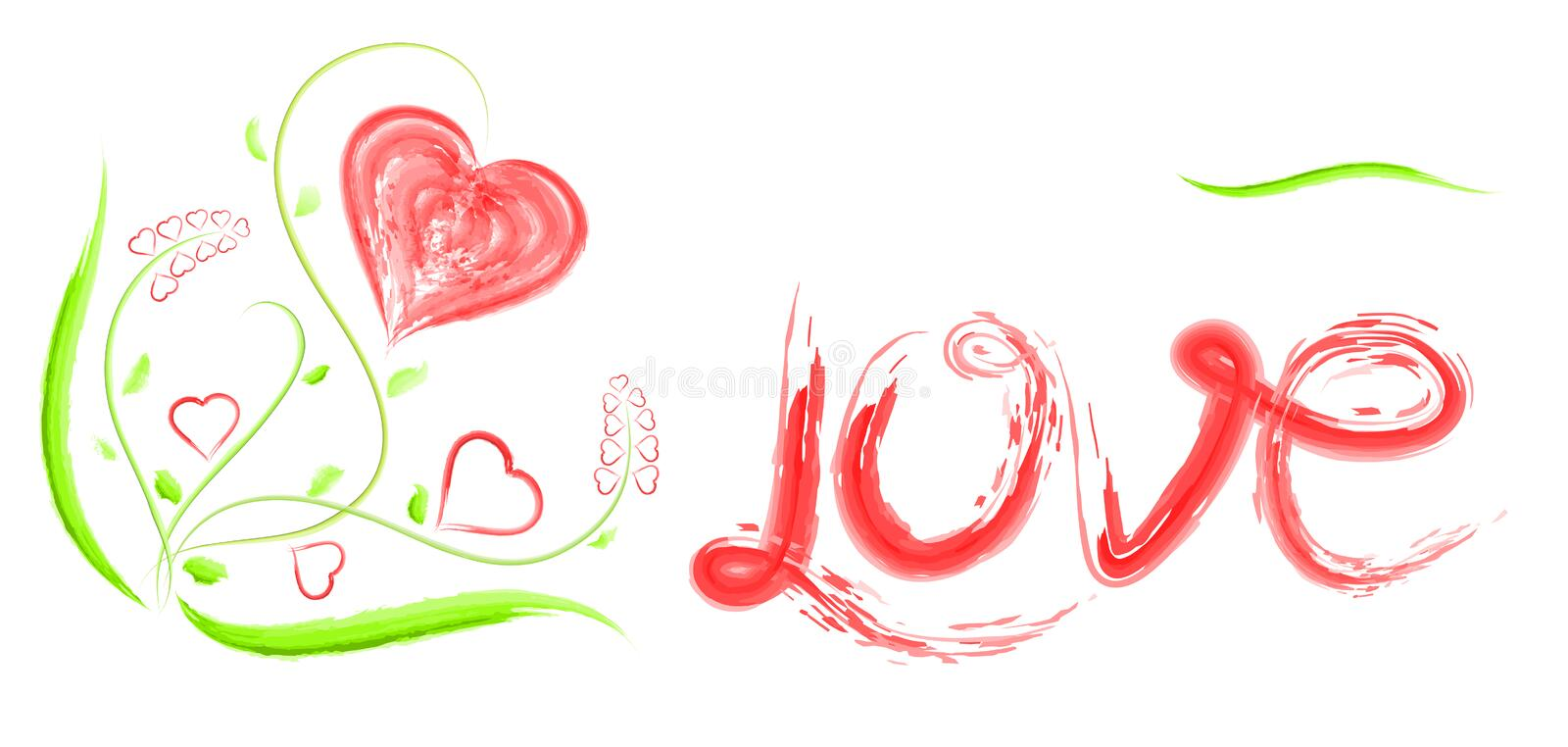 The heart, the caption love, and flowers for Valentine`s Day or weddings vector illustration