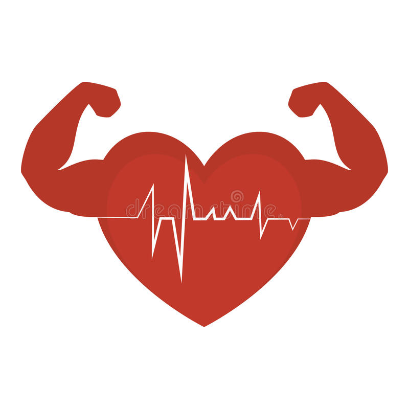 heart cardio with strong hands royalty free illustration