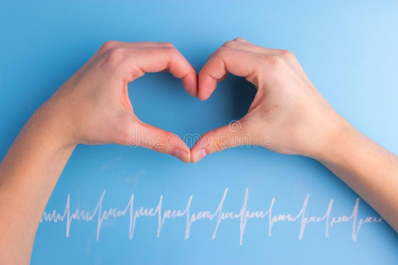 Heart and cardiogram royalty free stock photo