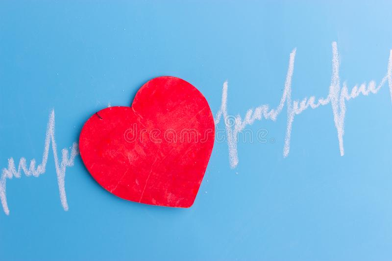 Heart and cardiogram stock photography