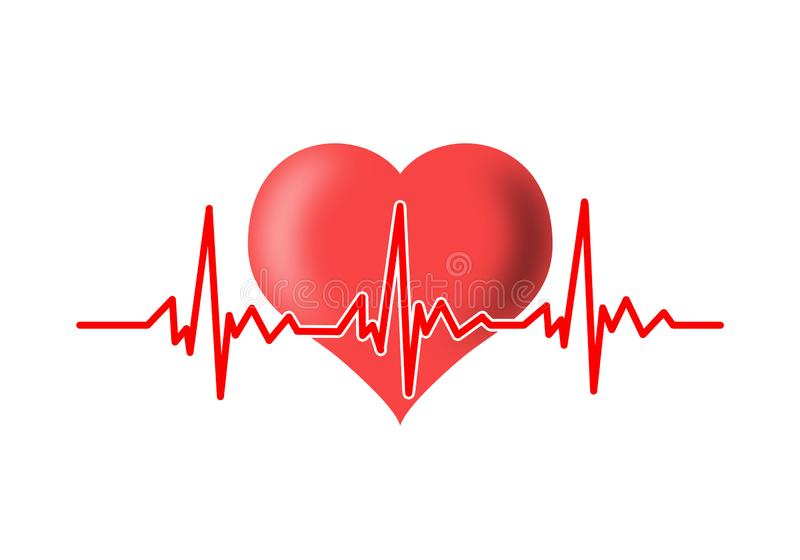 Heart and cardiogram stock illustration