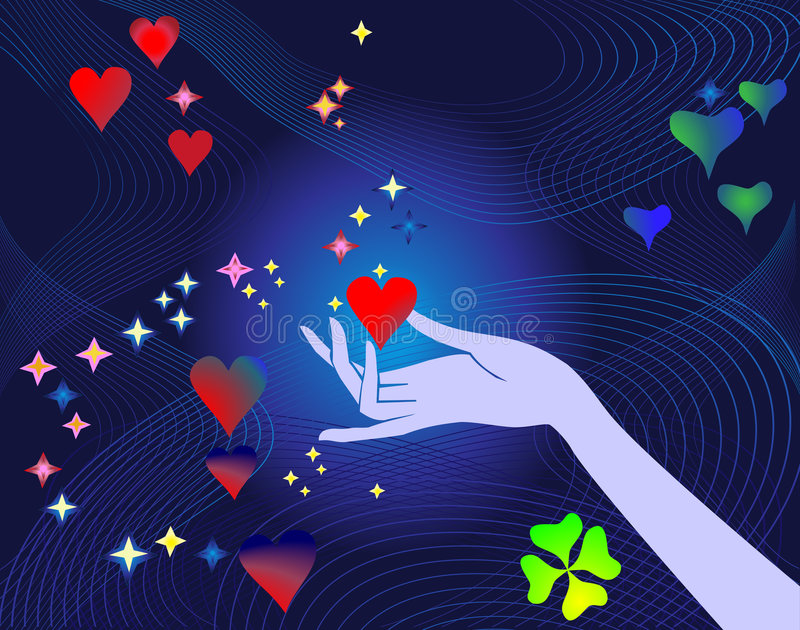 Heart in care hand stock illustration