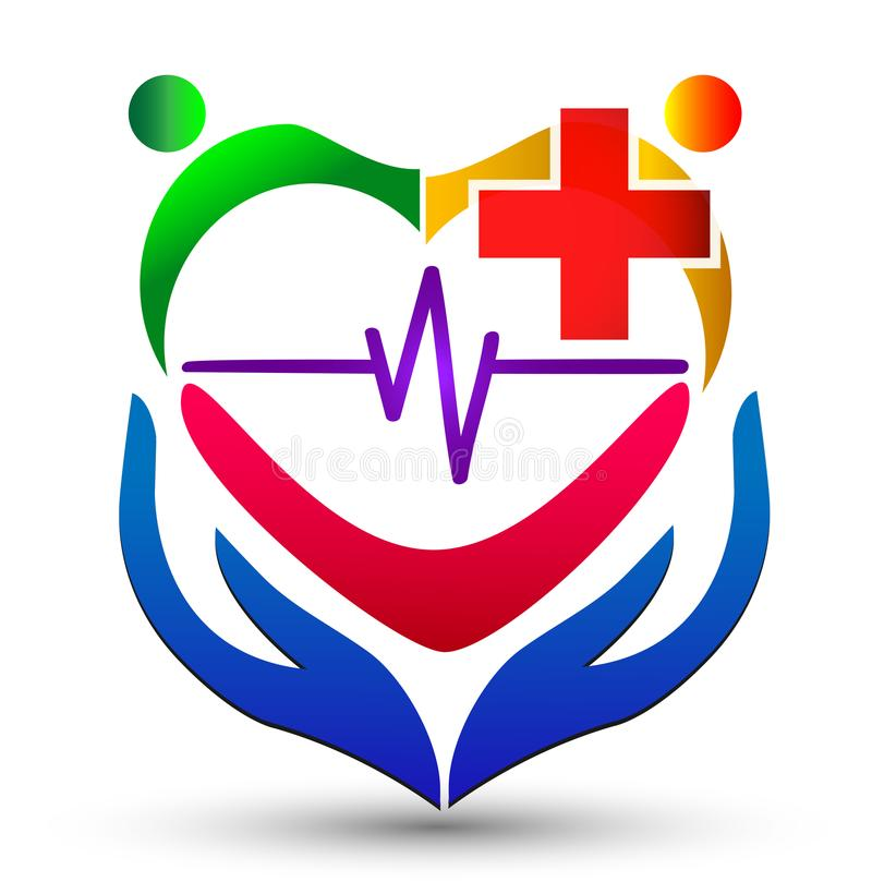 Heart care with hands, heartbeat and people logo vector illustration