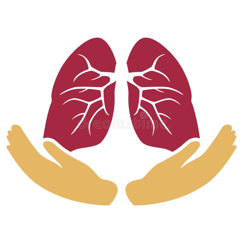 Lungs Care with Hands Symbol royalty free illustration