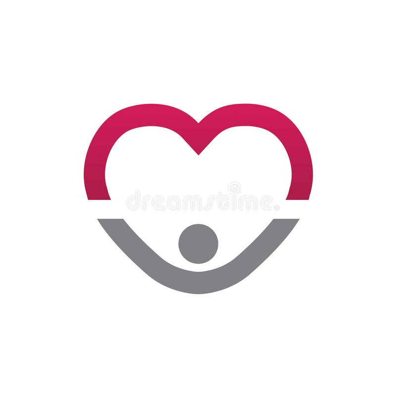 Heart care health people logo stock illustration