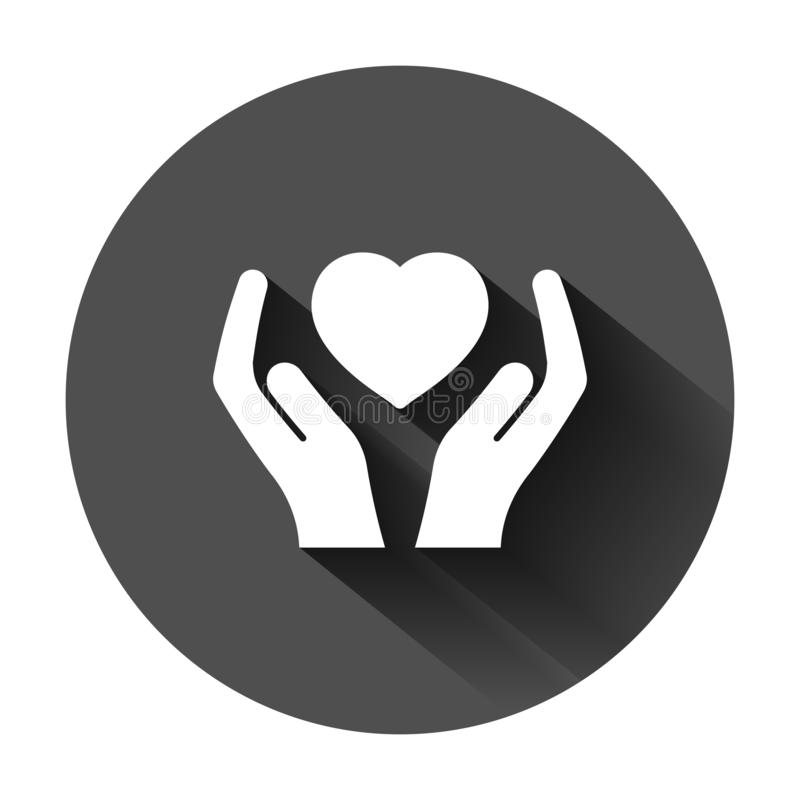 Heart care icon in flat style. Charity vector illustration on black round background with long shadow. Love in hand business stock illustration