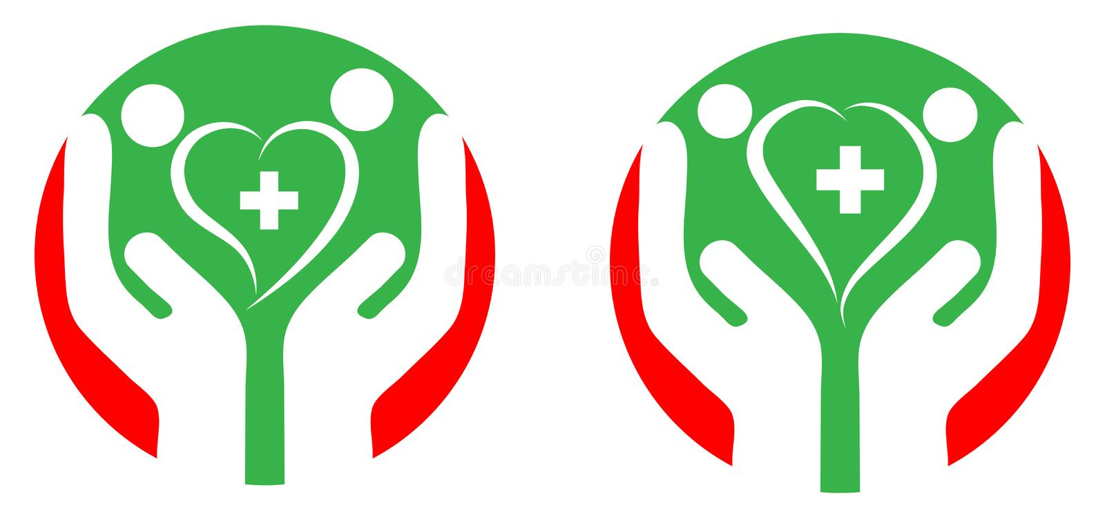 Heart care. Illustration of heart care logo with white background stock illustration