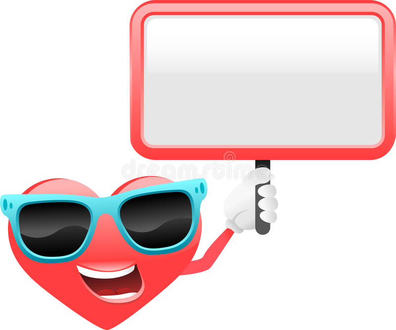 Download Heart Cartoon Character With Sign Royalty Free Stock Images - Image: 22933479