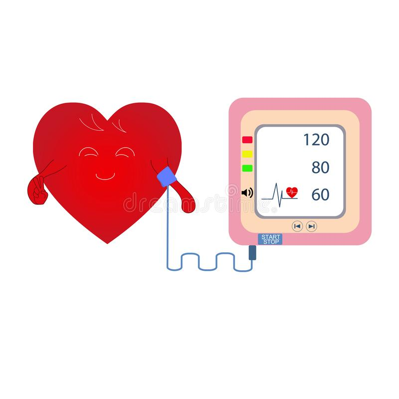 Heart cartoon with Digital device Medical equipment for measuring pressure, Diagnose hypertension, heart. Vector illustrations concept healtycare vector illustration