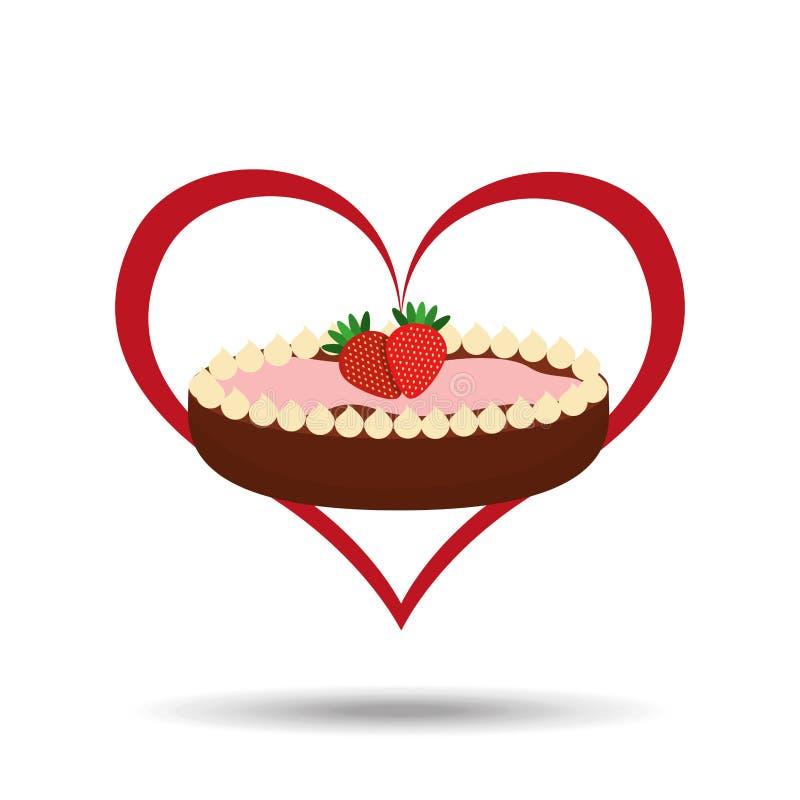Heart cartoon sweet pie strawberry and chocolate icon design. Illustration stock illustration