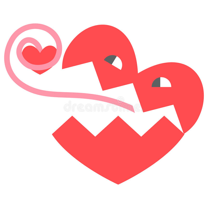 Heart, cartoon. Vector heart love person cartoon face character royalty free illustration