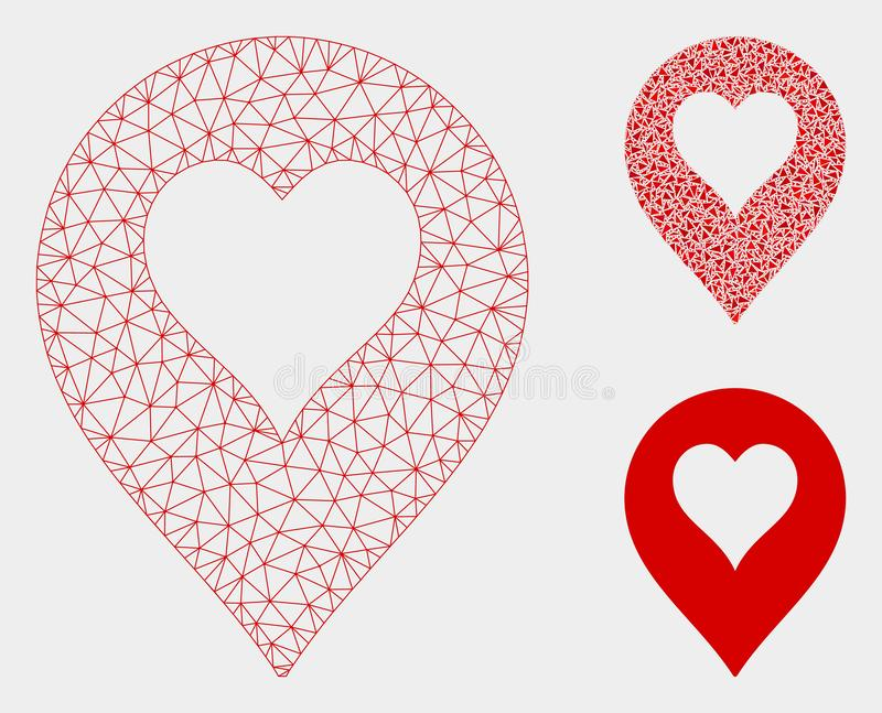 Heart Casino Marker Vector Mesh Wire Frame Model and Triangle Mosaic Icon. Mesh heart casino marker model with triangle mosaic icon. Wire frame polygonal mesh of royalty free illustration