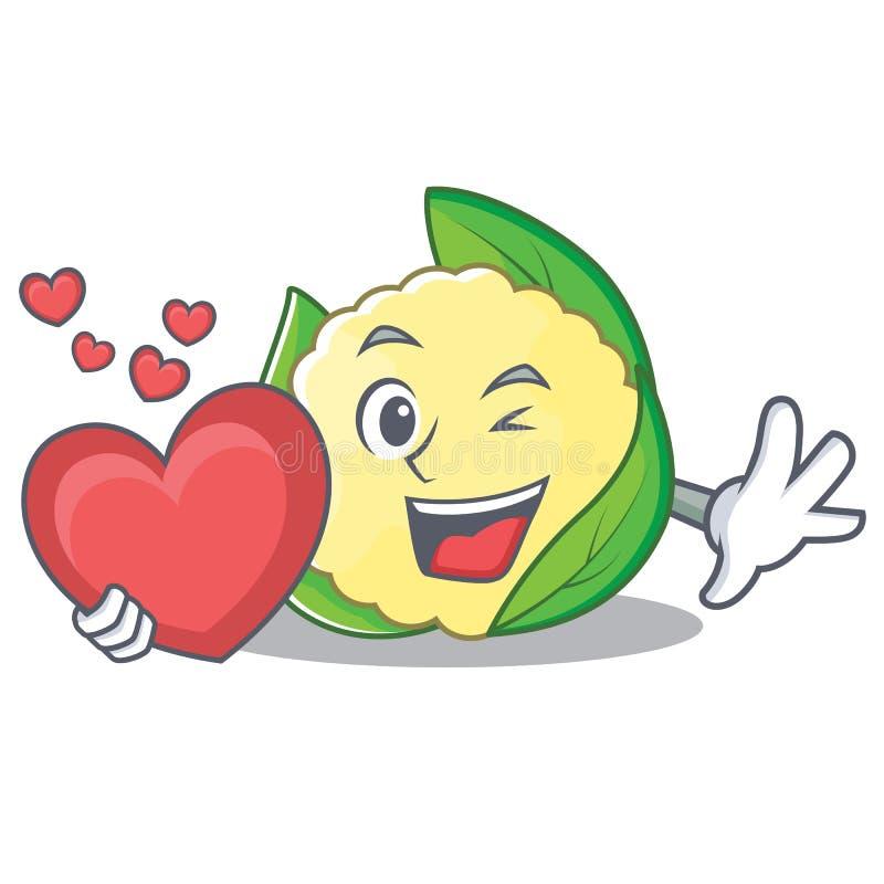 With heart cauliflower character cartoon style. Vector illustration stock illustration