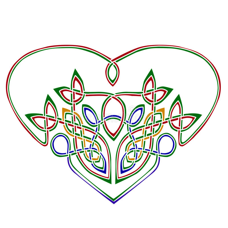 Heart in celtic style. Celtic style heart made of several intricately interlacing wires. Colored in green, red, yellow, blue vector illustration
