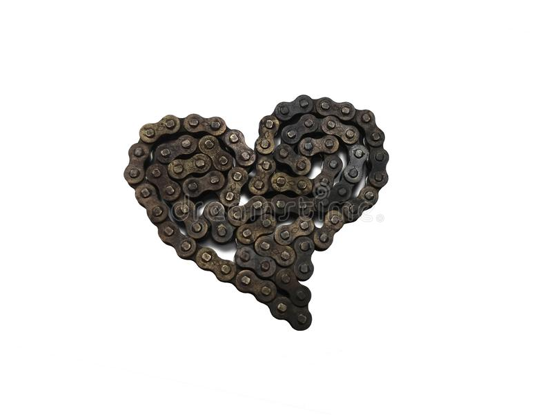 Heart Chains. This heart was formed out of an old small machine chain, about 16 inches in total length. This chain was being changed out and replaced with a new stock photography
