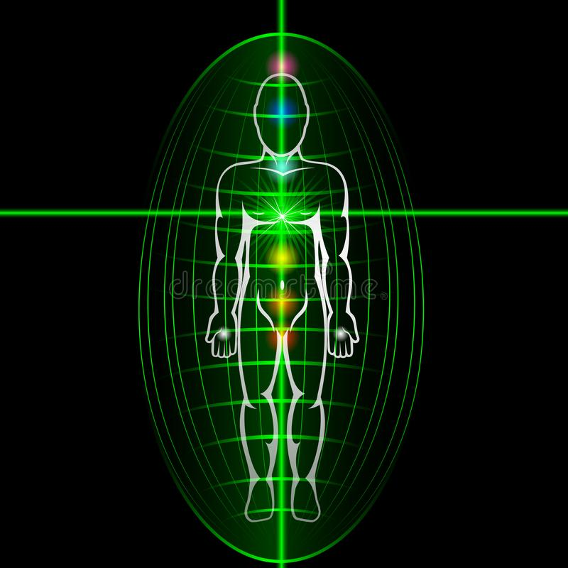 Heart chakra activation concept. Man with shining aura. stock illustration
