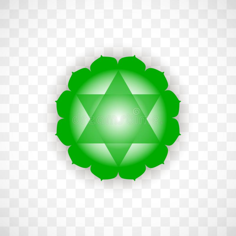 Heart chakra Anahata in green color isolated on transparent background. Isoteric flat icon. Geometric pattern. Heart chakra Anahata in green color isolated on vector illustration