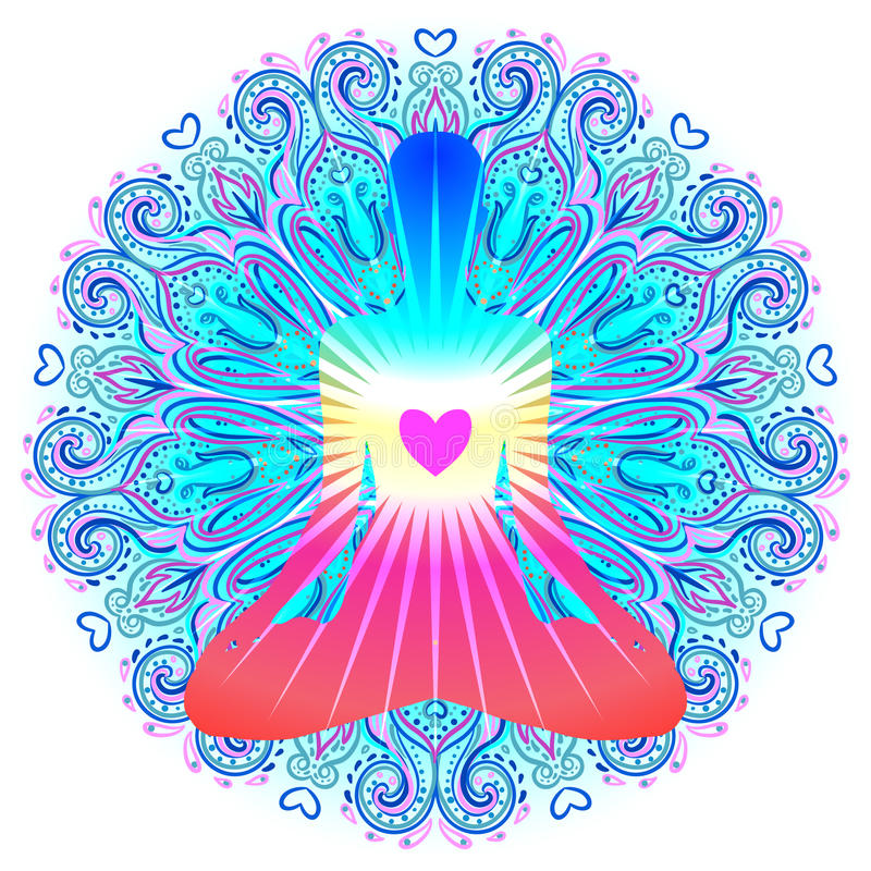 Heart Chakra concept. Inner love, light and peace. Silhouette in. Lotus position over colorful ornate mandala. Vector illustration isolated on white. Buddhism royalty free illustration