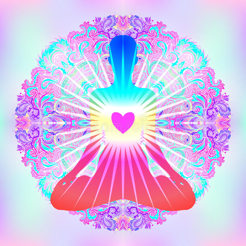 Heart Chakra concept. Inner love, light and peace. Silhouette in. Lotus position over colorful ornate mandala. Vector illustration isolated on white. Buddhism vector illustration