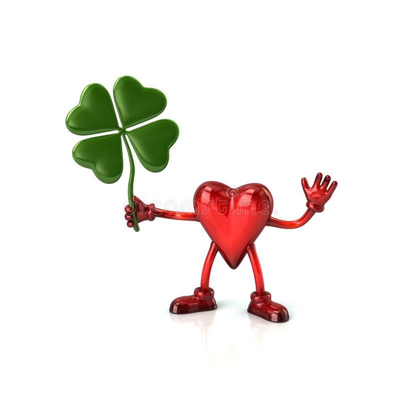 Heart character holding four leaf clover stock illustration