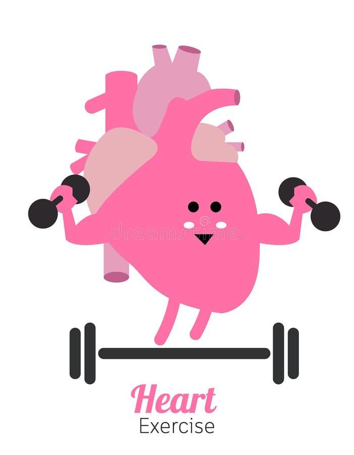 Heart charactor vector design fitness for smart heart with dumbbell. Flat design elements. vector illustration royalty free illustration