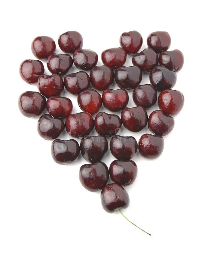 Heart of cherries stock photo