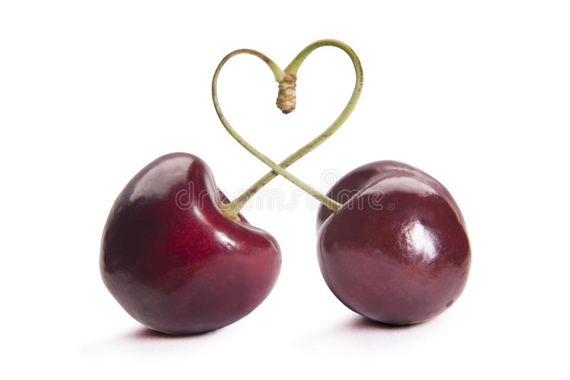 Heart of cherries royalty free stock photography
