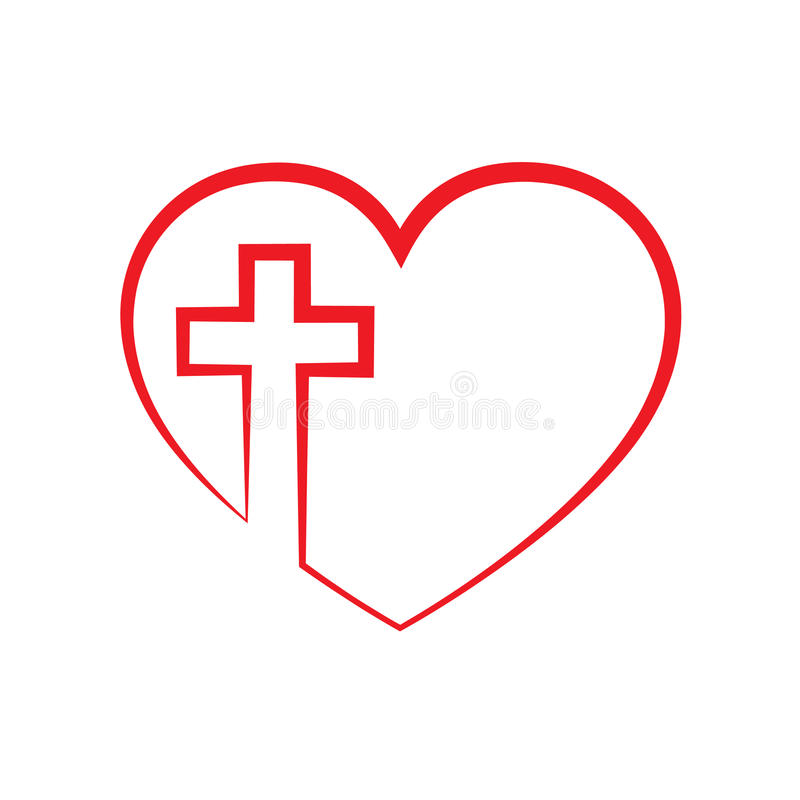 Heart with Christian cross inside. Vector illustration. Christian cross icon in the heart inside. Red christian cross sign isolated on white background. Vector royalty free illustration
