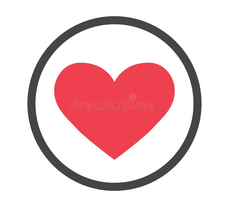 Heart in circle icon. Red heart in gray circle minimalistic simple design icon eps vector illustration