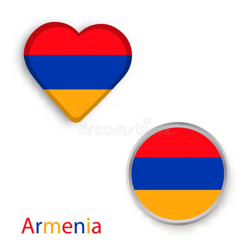 Heart And Circle Symbols With Armenia Flag Stock Illustration