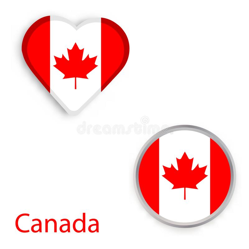 Heart And Circle Symbols With Flag Of Canada Stock Illustration