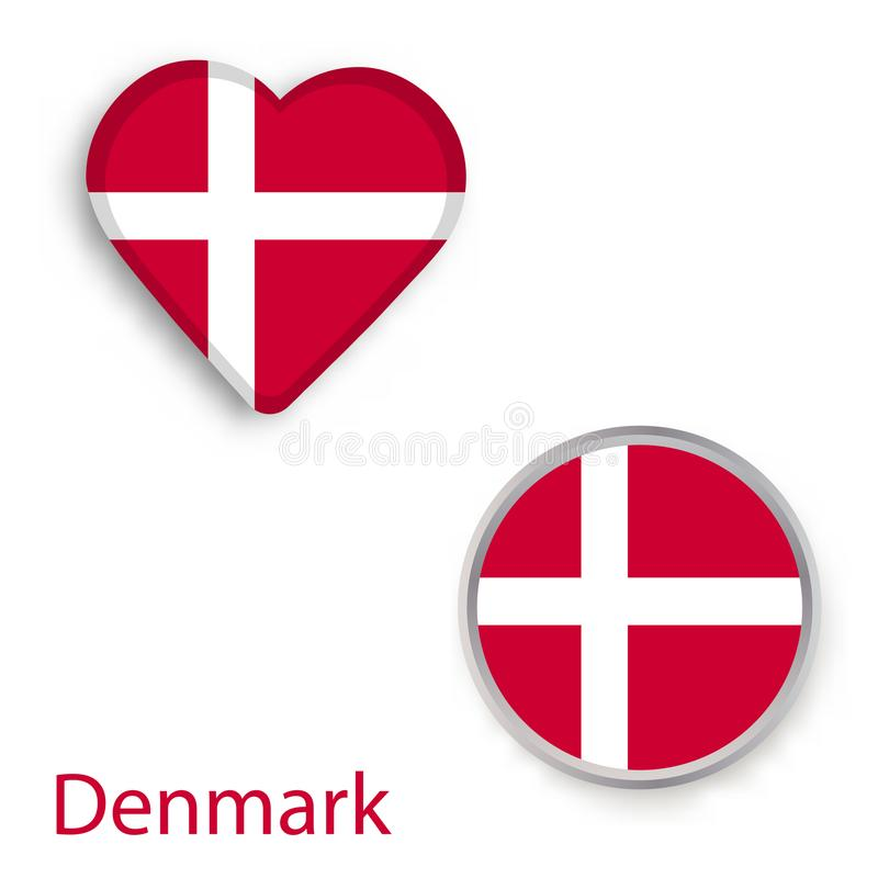 Heart And Circle Symbols With Flag Of Denmark Stock Vector