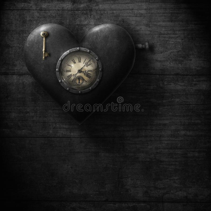 Heart Clock, grungy steampunk style with colour selection vector illustration