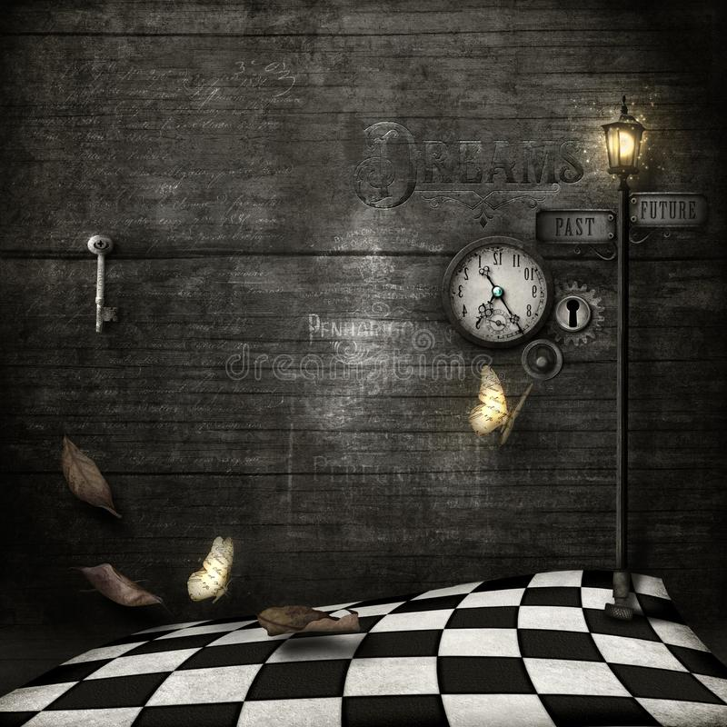 grungy background with chequered floor, backwards clock & lamppost vector illustration