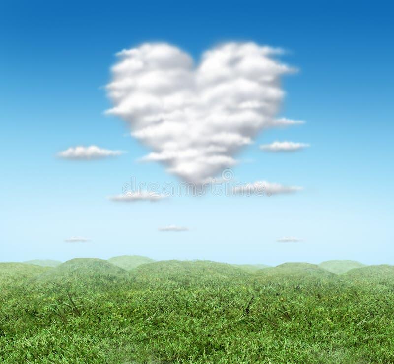Heart cloud. Valentine cloud heart valentines storm cloud vector illustration