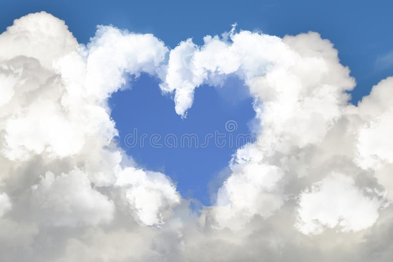 Heart cloud and blue sky background stock images