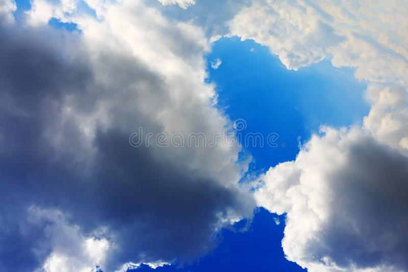 Heart shapes cloud on blue sky. Heart from cloud in the blue sky. Valentine`s Day background royalty free stock images