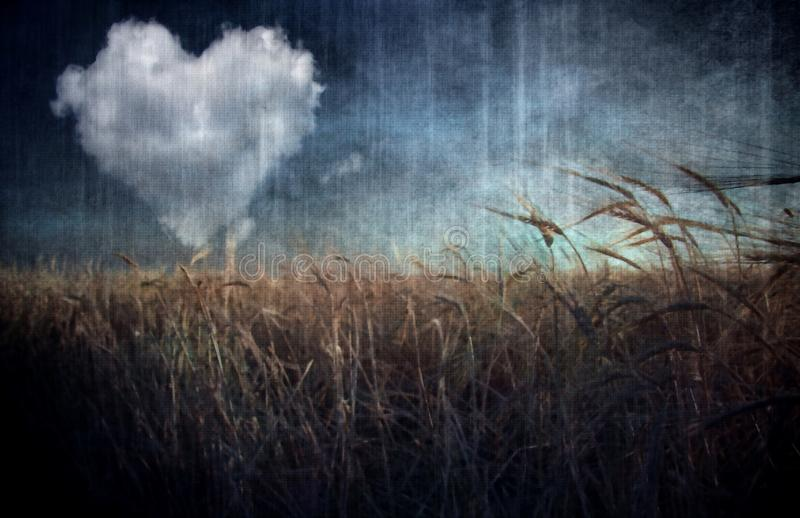 Heart cloud over field. Digital painting in muted colors stock illustration