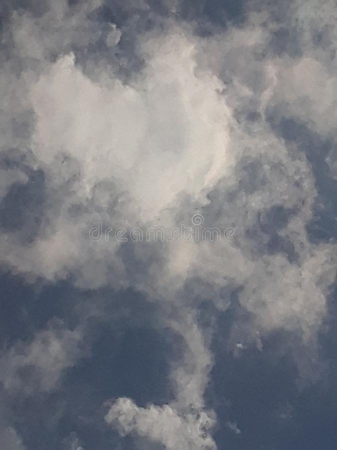 Heart Cloud in the sky at 222PM. Heart cloud nature sky 222pm stock photos