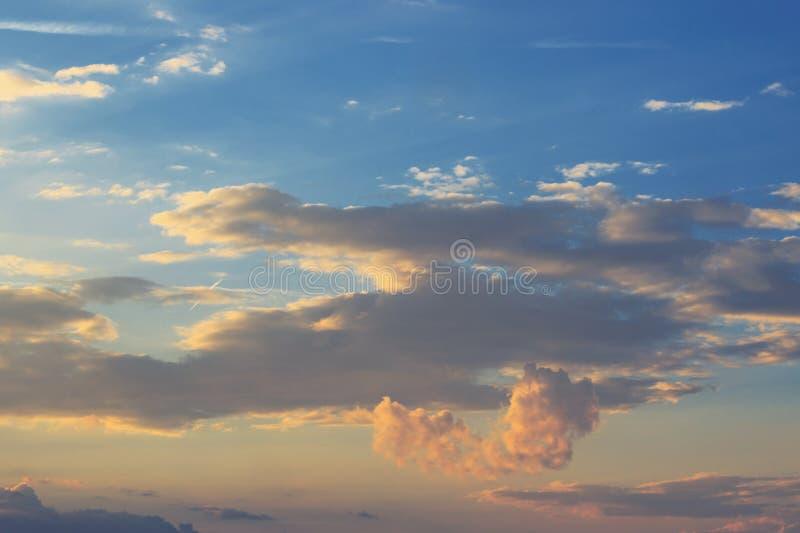 The heart cloud on a sunset. Sky stock photo