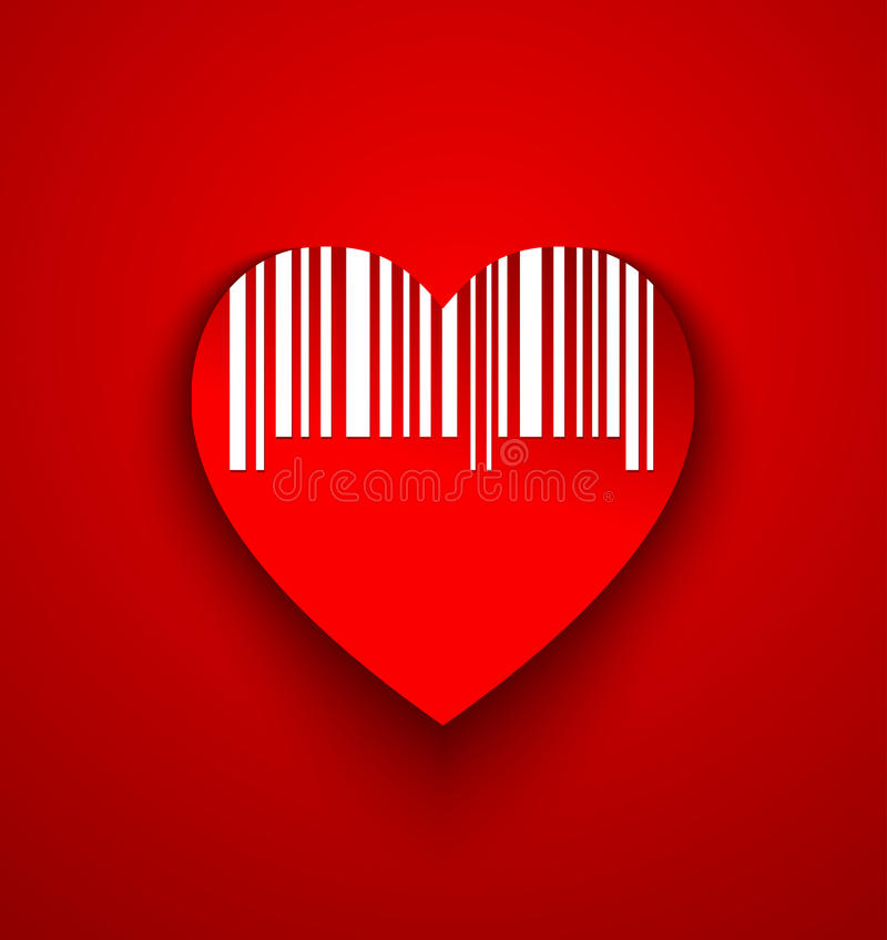 Heart with code bar stock illustration