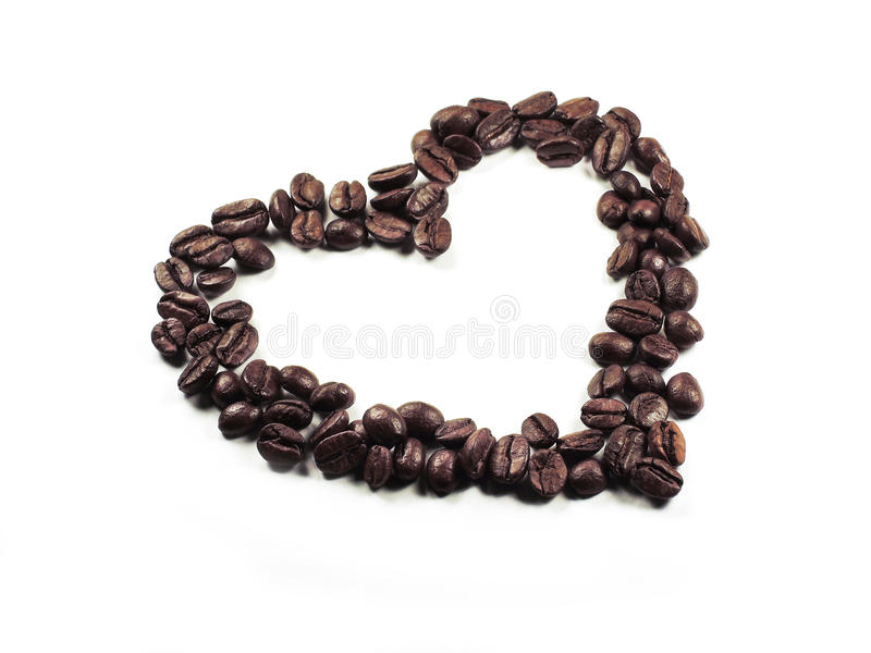 Heart of the coffee beans closeup royalty free stock image