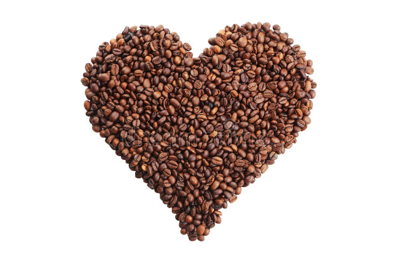 Heart from coffee beans isolated on white stock image
