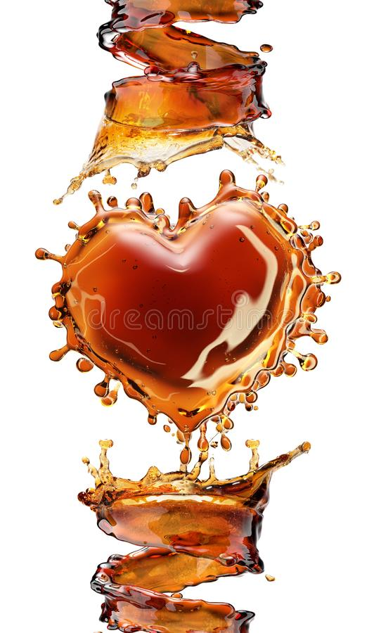 Download Heart From Cola Splash With Bubbles Isolated On White Stock Photo - Image of falling, cube: 109148278